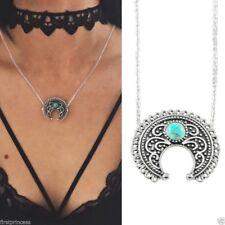 collare Etnico lega mezza luna Etnico Boho luna Scolpito Pendant Chain Necklace