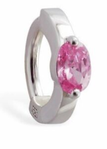 TummyToys Sterling Silver Navel Ring set with Large Pink Oval CZ [TT-65061]