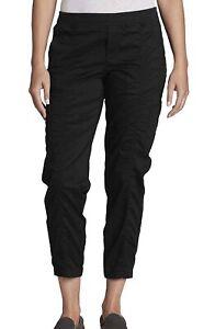 New Eddie Bauer Ladies' Laid Back Twill Jogger Pant Stretch Capri Size 8 Black