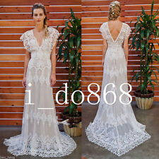 Vintage Lace V Neck Wedding Dresses Bohemian Dress Summer Beach Bridal Gown 2018