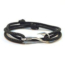 Handmade Comanche Camo Adjustable Silver Plated Fish Hook Paracord Bracelet