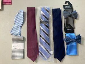 Alfani, Men's Store, Nautica Lot of 7 Ties & Pocket Sq and Bows Silk, Polyester