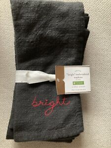 """Pottery Barn Dark Gray/Red """"Bright"""" Embroidered Christmas Cotton Napkins - 4 Pcs"""