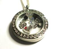 Cat Lovers pendant locket with charms & Swarovski beads.