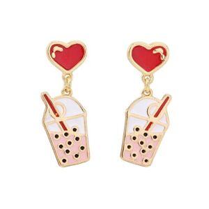 Kitsch Love Heart Boba Bubble Milk Pearl Tea Cute Quirky Funky Studs Earrings