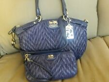 COACH MADISON QUILTED CHEVRON NYLON 70th ANNIVERSARY NAVY PURSE 18637 w/WRISTLET