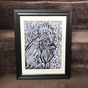 ORIGINAL Abstract Rooster Framed 8.5x11 Art Ink Drawing Farm Animal Farmer Chick
