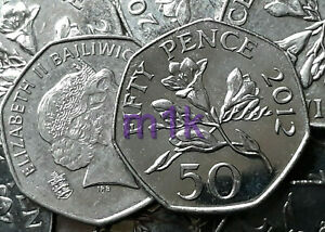2012 FREESIA Flowers Guernsey 50p Fifty pence Circulated Coin