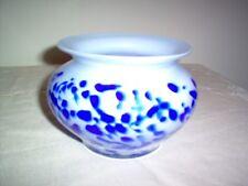"""Vintage Cased Art Glass Pot-Bellied Vase in Blue & White 4 1/4"""" hi, MINT & NICE"""