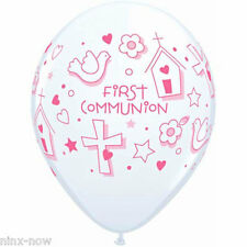 First Communion Girl Balloons 28cm pack of 10 White with pink writing