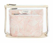 Radley - Pale Pink Wild Palms Large Zip Pouch Set of 3 - New