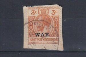 BRITISH HONDURAS 1918 3c Orange with WAR Overprint on Small Piece SG 118 USED