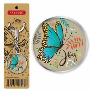 Joy Butterfly Metal Keyring Ideal Christian Religious Present Gift Men Women