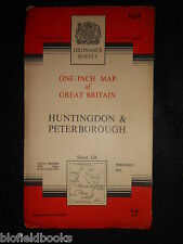 "VINTAGE ORDNANCE SURVEY 1"" MAP of Huntingdon and Peterborough - 1964 - Sheet 134"
