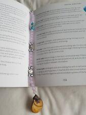 Lilac Jade, abalone shell & crystal glass bead angel Bookmark, windchime
