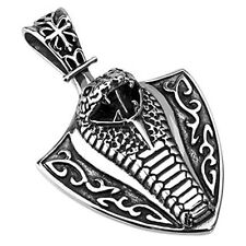 Stainless Steel Poisonous Cobra Shield Pendant P179