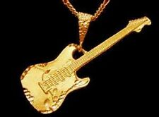 LOOK Electric Guitar Silver Pendant Charm Music Gold Plated