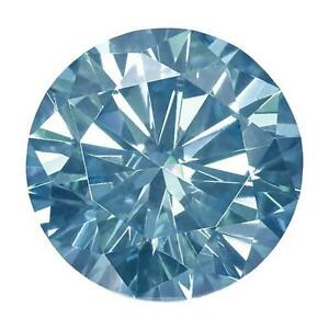 1 Round Cut Brilliant Moissanite Fancy Blue 7mm Diameter 1.20 tcw Loose Stone