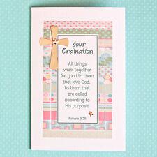 Ordination/New Minister/Priesthood Christian Card Gold Cross and Stars Handmade