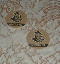 """UCF GOLDEN KNIGHTS  TWO PIECE ABSORBENT CAR COASTER SET 2 1/2"""" RD USA MADE"""