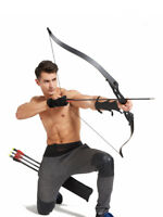 """30-50lb 56"""" Black Archery Hunting Recurve Bow Right Hand Target Longbow Shooting"""