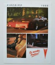 PONTIAC FIREBIRD 1988 dealer sheet brochure - French - Canada