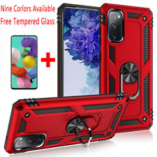 For Samsung Galaxy S20 FE 5G Shockproof Armor Stand Case Cover+Tempered Glass