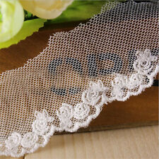 1 Yard Lace Trim Cotton Mesh Eyelet Flower Embroidered Ribbon Craft Sewing Decor