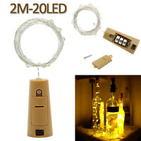 2m 20 LED Wine Bottle Lights with Cork Warm White Copper Wire Mini String Lights