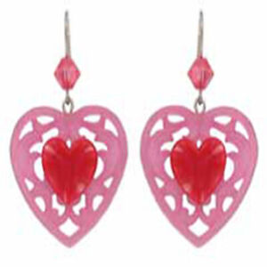 Tarina Tarantino Candy Cupid Lucite Heart Earrings Pink & Red ~Made in USA~