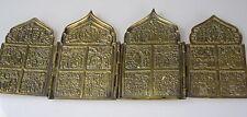 Vecchia grande icona Bronzo Russia festività viaggio icona tetraptychon 4 pezzi
