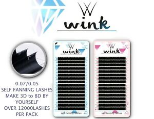 Pre made Russian Lashes Volume Fans 1D Mink Eyelash Extensions WINK C D Curl