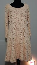 Free People Women's Lace Mini Fit and Flare Dress Lined 3/4 Sleeves Size L NWT