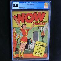 WOW COMICS #9 (Fawcett 1943) 💥 CGC 5.0 💥 Mary Marvel Begins! Captain Marvel