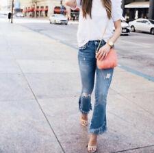 Zara Trafaluc Fringe Hem Jeans Size 6 Blue Distressed Denim Flare Leg Mid Rise