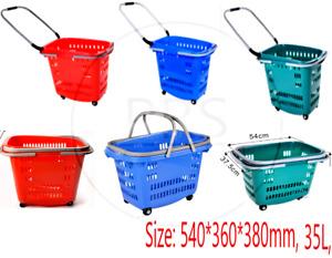NEW 35 LITER  PLASTIC SHOPPING TROLLEY BASKET RED BLUE GREEN SUPERMARKET STORE