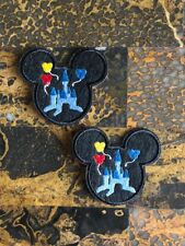 """2 Mickey Mouse Disney Castle Iron Sew On Patch 2.5"""" L x 2.75"""" W SAME Day"""