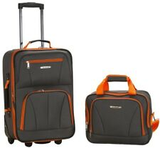 2-Piece Luggage Set Charcoal Gray Polyester Full-Lining Carry-On Bag Skate Wheel