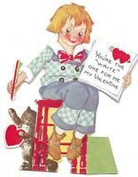 Vintage Valentines Card Rosy Cheek Sitting Girl You're the Write One for Me