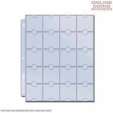 10 X Pages Ultra Pro Coin Pages 20 Pockets for Album Folder Double Thumb Cuts