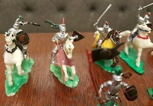 Lot of 40 Vintage Marx Miniature Knights Horses Painted Playset