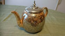 VINTAGE POTTERY TEAPOT WITH SILVER PLATED COVER MARKED PAT. AUG. 28, 1877