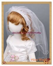 """White Girl First Holy Communion Veil with Pearls on Satin Alice Headband,23""""L"""