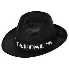 Hat Al Capone Black - Gangster Fancy Dress Accessory Trilby Band Adult Felt