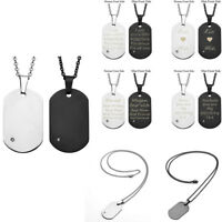 Custom Engraved Personalized Stainless Steel CZ Dog Tag Name Pendant Necklace
