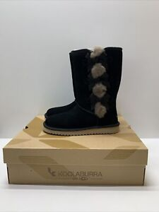 KOOLABURRA BY UGG Victoria Tall Genuine Black Shearling Trim Fur Boot Sz 6