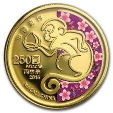 2016 Macau 1/4 oz Proof Gold Year of the Monkey (Colorized) - SKU #93074
