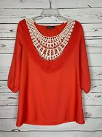 Umgee Boutique Women's Sz S Small Coral Ivory Lace Spring Cute Top Blouse Shirt