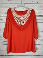 Umgee Boutique Women's S Small Coral Ivory Lace Cute Spring Top Blouse Shirt