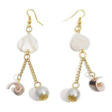 Jewels Of India Mother Of Pearl & Glass Pearl Drop Hook Earrings. New